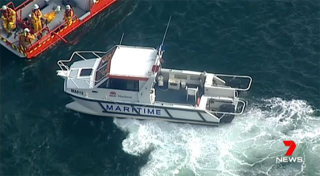 Search and rescue vessels arrive at the scene. Source: 7 News