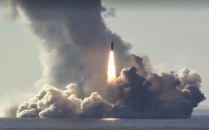 Footage from the web site of Russia's Defense Ministry shows the nuclear submarine Yuri Dolgoruky test-firing Russia's Bulava missiles on the White Sea on May 22, 2018. The exercise was the first launch of four Bulava missiles in a single salvo. (Photo: Russian Defense Ministry Press Service/AP)