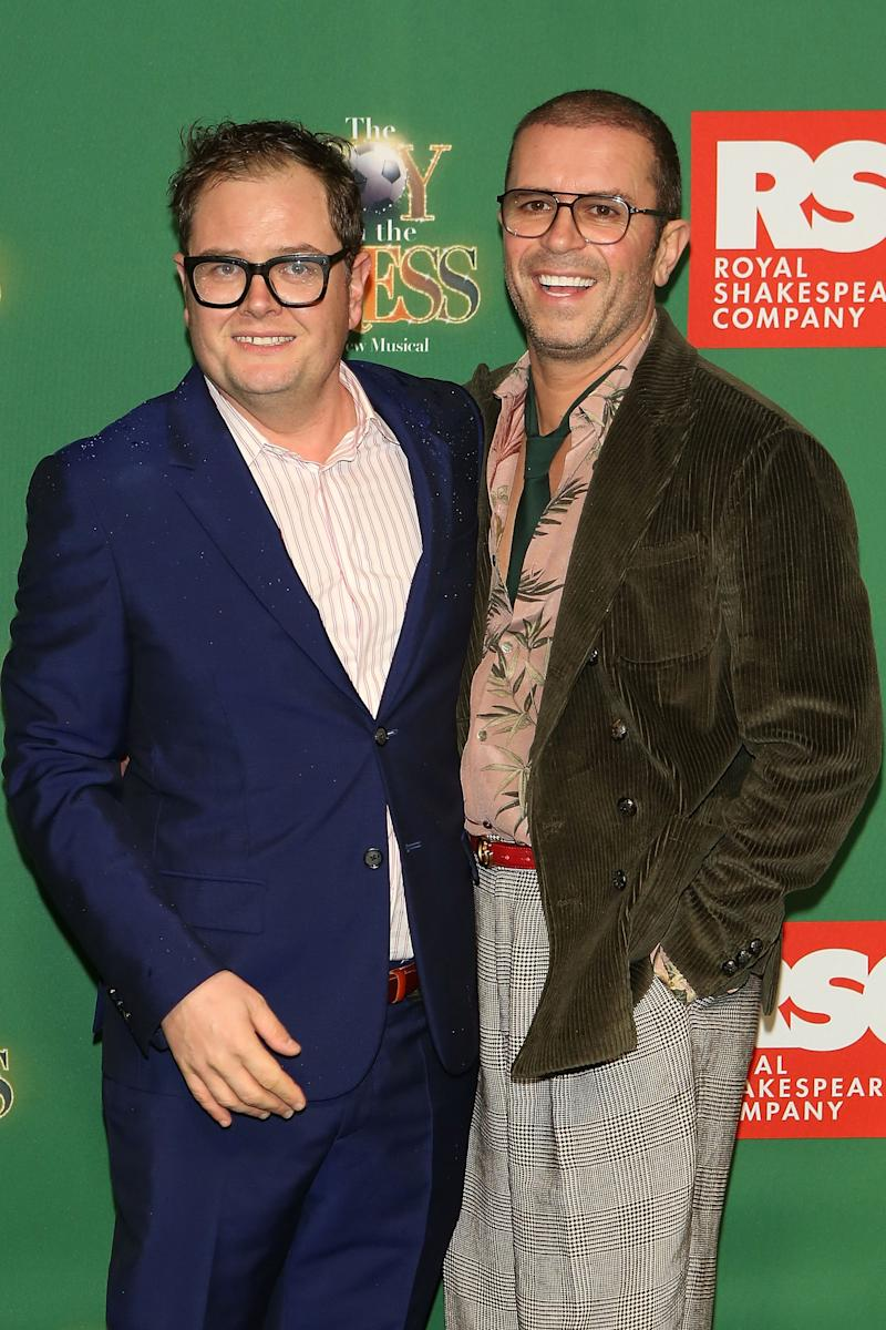 "STRATFORD-UPON-AVON, ENGLAND - NOVEMBER 28: (L-R) Alan Carr and Paul Drayton attend the press night performance of ""The Boy In The Dress"" at Royal Shakespeare Theatre on November 28, 2019 in Stratford-upon-Avon, England. (Photo by David M. Benett/Dave Benett/Getty Images)"