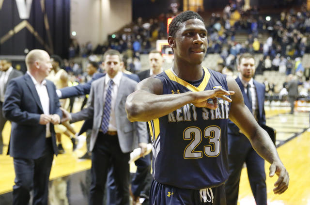 Kent State guard Jaylin Walker (23) leaves the court after Kent State defeated Vanderbilt, 77-75, in an NCAA college basketball game Friday, Nov. 23, 2018, in Nashville, Tenn. Walker led Kent State with 22 points. (AP Photo/Mark Humphrey)