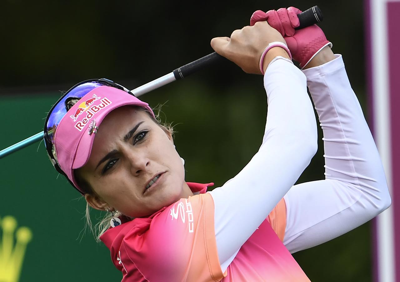 "Alexis ""Lexi"" Thompson from the United States competes on September 16, 2016 during the Golf Evian Championship in the French Alps town of Evian-les-Bains, a major tournament on the women's calendar. (AFP Photo/PHILIPPE DESMAZES)"