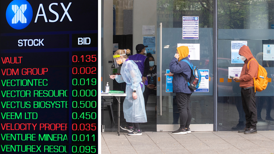 The ASX board showing stock price numbers and people line up outside a COVID-19 testing clinic with masks.