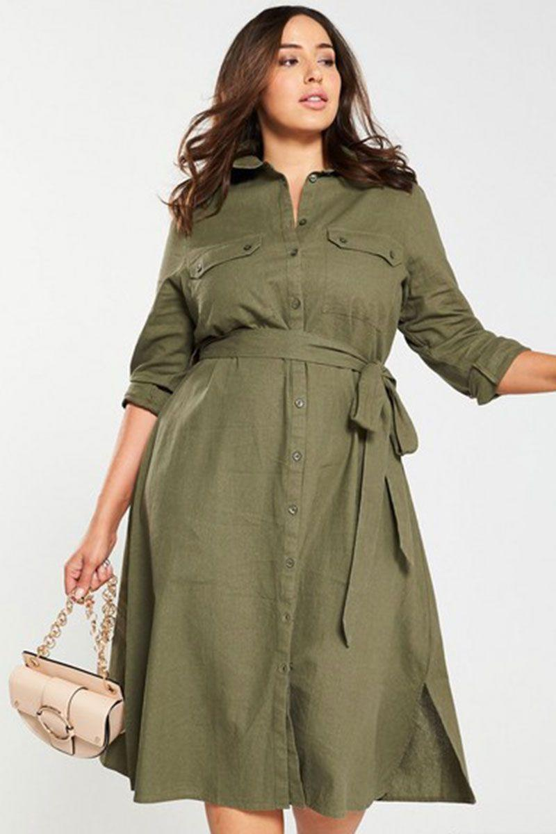 "<p>Linen shirt dresses, £40, V by Very</p><p><a class=""link rapid-noclick-resp"" href=""https://www.very.co.uk/v-by-very-curve-button-through-linen-shirt-dress-khaki/1600309197.prd"" rel=""nofollow noopener"" target=""_blank"" data-ylk=""slk:BUY NOW"">BUY NOW</a></p>"