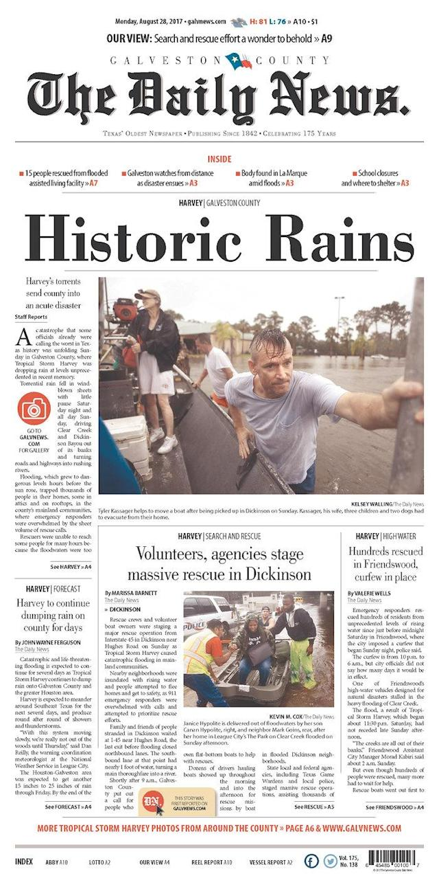 <p>Galveston County Daily News<br> Published in Galveston, Texas USA. (newseum.org) </p>