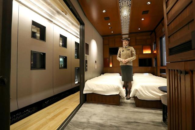 <p>A suite room — one of 17 aboard the Shiki-shima. (Photo: STR/AFP/Getty Images) </p>