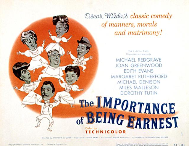 The Importance Of Being Earnest, poster, poster art, 1952. (Photo by LMPC via Getty Images)