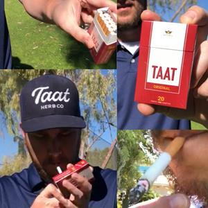 "Taat Herb Co. Founder Joe Deighan in a recent video statement demonstrating how Taat is used, with a similar ""ritual"" to that of smoking a tobacco cigarette and comparable behaviour of the product when it is ignited"