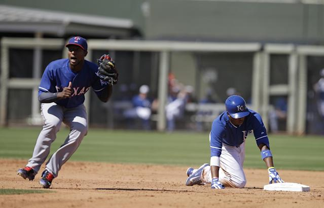 Texas Rangers' Jurickson Profar reacts after Kansas City Royals' Alcides Escobar slid safe into second base on a double during the fifth inning of a spring exhibition baseball game, Saturday, March 22, 2014, in Surprise, Ariz. (AP Photo/Darron Cummings)
