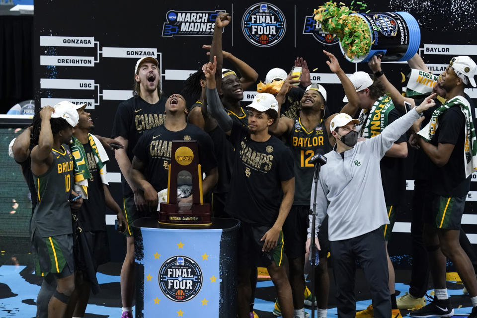 Baylor players and coaches celebrate after the championship game against Gonzaga in the NCAA title game on Monday. (AP)