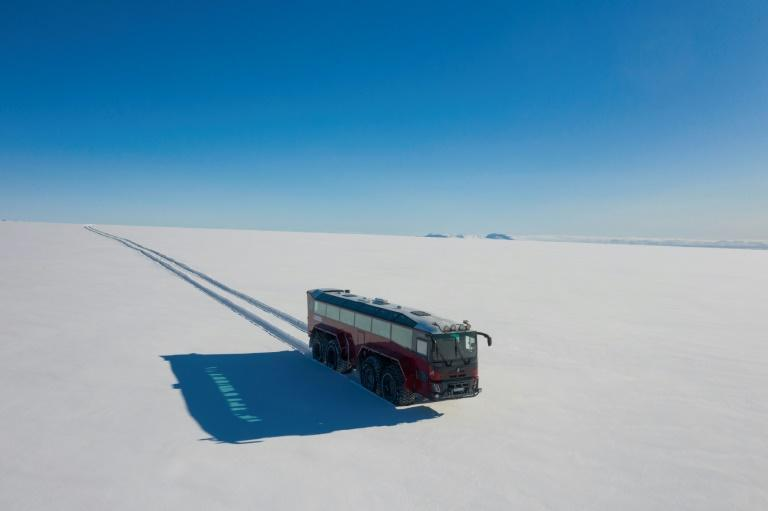 The glacier mega bus is named Sleipnir after the mythical eight-legged horse ridden by the Norse god Odin