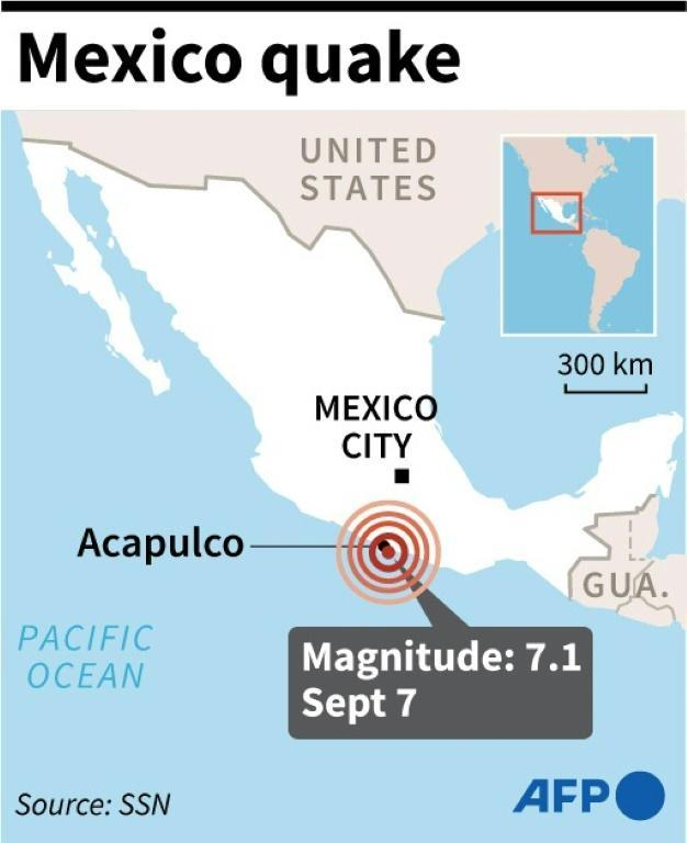 Map locating a 7.1-magnitude earthquake which struck southern Mexico on September 7, 2021 (AFP/Gustavo IZUS)