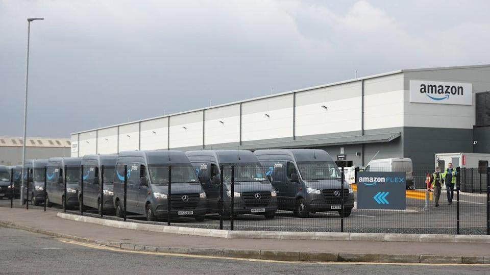 Electric delivery vans at the Amazon warehouse in the Titanic Quarter, Belfas (Niall Carson/PA) (PA Wire)