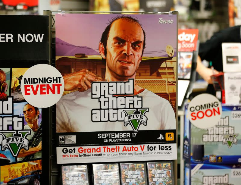 """A promotion for the computer game """"Grand Theft Auto Five"""" is shown in Encinitas, California"""