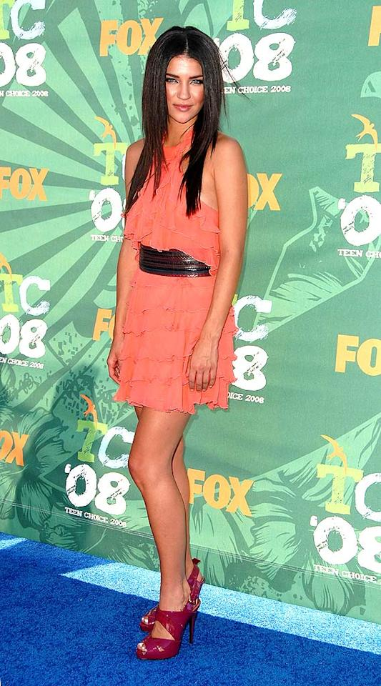 """Jessica Szohr's salmon dress sizzled, while her tacky heels fizzled. Steve Granitz/<a href=""""http://www.wireimage.com"""" target=""""new"""">WireImage.com</a> - August 3, 2008"""