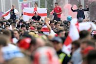 Supporters fill Olympic Way as they arrive at Wembley Stadium ahead of the Euro 2020 final between England and Italy