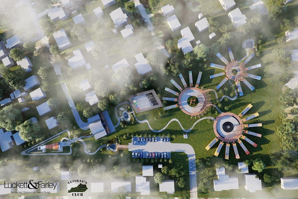 A rendering imagines the Camp Restoration community for veterans in Louisville, Ky.