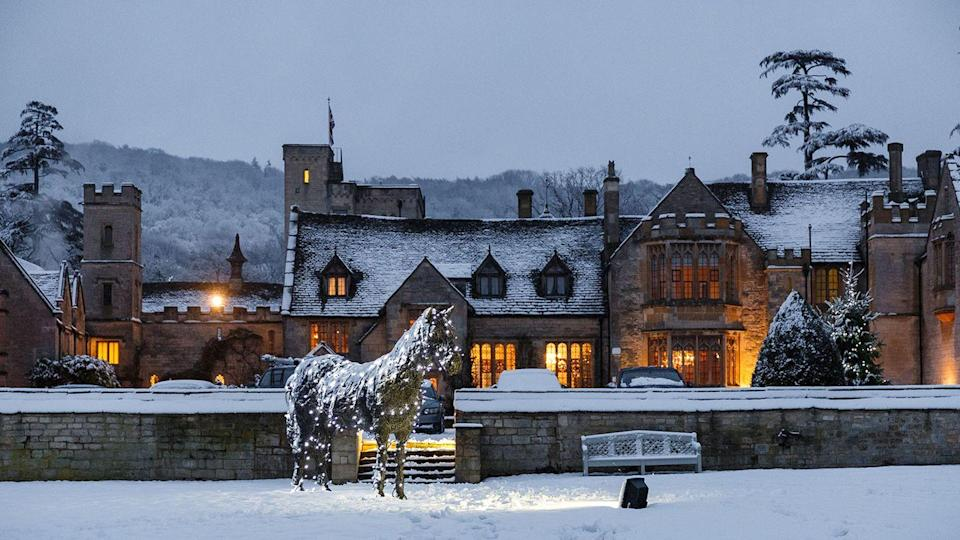 """<p>You can have a jolly good Christmas in the Cotswolds at luxurious <a href=""""https://www.booking.com/hotel/gb/ellenborough-park.en-gb.html?aid=2070929&label=christmas-hotels"""" rel=""""nofollow noopener"""" target=""""_blank"""" data-ylk=""""slk:Ellenborough Park"""" class=""""link rapid-noclick-resp"""">Ellenborough Park</a>, a 15th-century manor house transformed into a twinkling wonderland. Christmas at Ellenborough is quintessentially English: think roaring log fires, long country walks (with dog-friendly rooms available) and spa indulgence. Grand Christmas trees appear in the Great Hall, festive afternoon teas and indulgent six-course dinners await, and there's plenty of room to kick back, catch up with family and a play a board game. </p><p><a class=""""link rapid-noclick-resp"""" href=""""https://www.booking.com/hotel/gb/ellenborough-park.en-gb.html?aid=2070929&label=christmas-hotels"""" rel=""""nofollow noopener"""" target=""""_blank"""" data-ylk=""""slk:CHECK AVAILABILITY"""">CHECK AVAILABILITY</a></p>"""