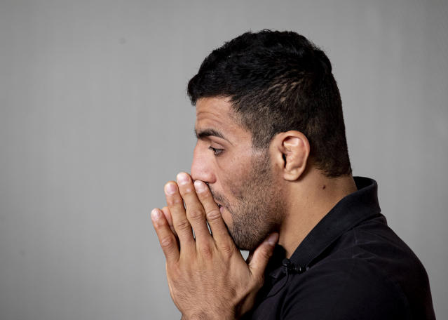 In this photo taken Sept. 12, 2019, Iranian judoka Saeid Mollaei poses for a portrait photo at an undisclosed southern city of Germany. Saeid Mollaei has been in hiding since he left the Iranian judo team last month, saying he had been ordered to withdraw from the world championships on political grounds. (AP Photo/Michael Probst)