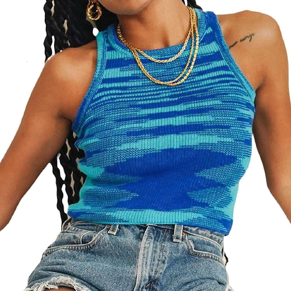 <p>This <span>Nufiwi Ribbed Knit Tie Dye Tank Top</span> ($4-$20) will look cute with denim cutoffs and white sneakers.</p>