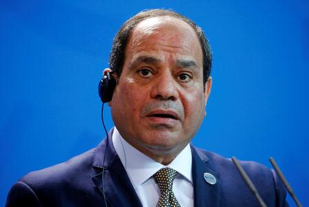 Egyptian President Abdel Fattah al-Sisi speaks during a news conference at the Chancellery in Berlin