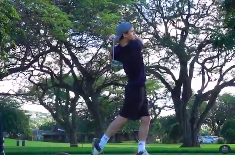 Spider-Man shows off silky swing while playing Sony Open Pro-Am with Jordan Spieth