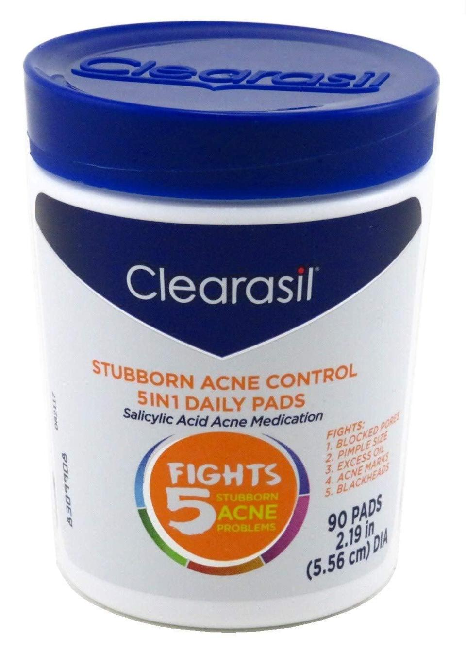 """<p>""""Suddenly, as I entered my mid-20s, pesky zits started showing up on my cheeks and chin. I tried all sorts of products, including expensive creams, toners, and scrubs. It wasn't until I tried my sister's drugstore pick that I discovered the answer to my problem. <span>Clearasil Stubborn Acne Control 5-in-1 Daily Facial Cleansing Pads</span> ($8) sit on my vanity now, and I use them religiously every night. </p> <p>These <a href=""""https://www.popsugar.com/beauty/Clearasil-Stubborn-Acne-Control-Daily-Pads-Review-44759603"""" class=""""link rapid-noclick-resp"""" rel=""""nofollow noopener"""" target=""""_blank"""" data-ylk=""""slk:little circular pads"""">little circular pads</a> contain 1.9 percent salicylic acid, which unclogs pores and dissolves the unwanted gunk you're dealing with. I use one every single night after I wash my face. All I do is wipe the pad over my problem areas and let it dry for a few minutes before I lie down or touch my face. My skin never gets too dried out or itchy from this formula, which is something I have struggled with in the past.</p> <p>Clearasil promises that this miracle product will reduce excess oil and shine, unblock pores, even out your skin tone, remove dirt, and exfoliate for smoothness. I can tell you that it does all that and more. Not only do my pimples clear up rapidly, but my skin is also firmer and glowing."""" - MCW</p>"""
