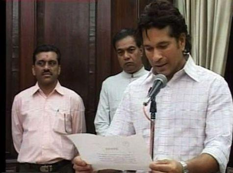 Master Blaster Sachin Tendulkar on Monday took oath as a Member of Parliament in front of Vice-president Hamid Ansari.