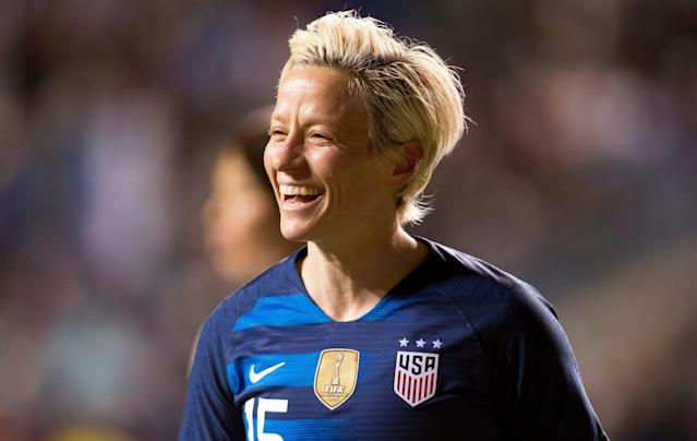 "<a class=""link rapid-noclick-resp"" href=""/olympics/rio-2016/a/1124356/"" data-ylk=""slk:Megan Rapinoe"">Megan Rapinoe</a> is one of four women's national team members to pose for Sports Illustrated this year. (AP Photo/Chris Szagola)"