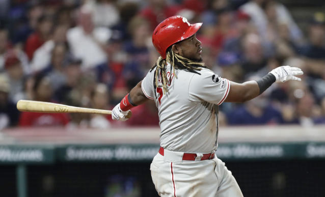 Philadelphia Phillies' Maikel Franco watches his two-run double during the fifth inning of the team's baseball game against the Cleveland Indians, Friday, Sept. 20, 2019, in Cleveland. (AP Photo/Tony Dejak)
