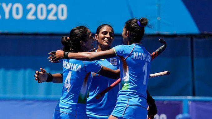 """<div class=""""paragraphs""""><p>India celebrate a goal against GB in the Bronze medal playoff </p></div>"""