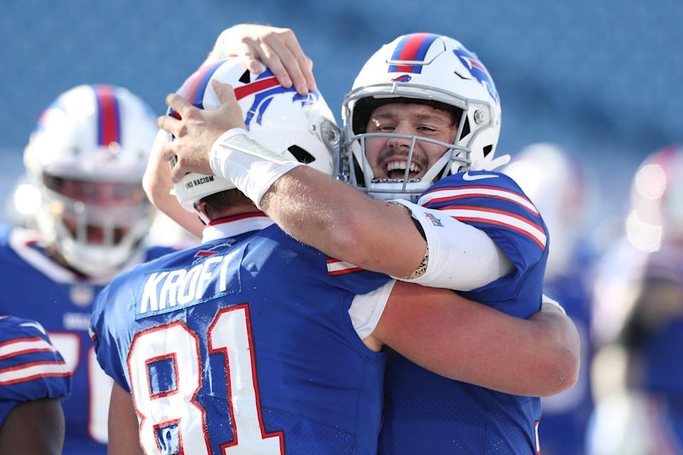 ORCHARD PARK, NEW YORK - NOVEMBER 08: Tyler Kroft #81 of the Buffalo Bills and Josh Allen #17 celebrate a touchdown during the first half against the Seattle Seahawks at Bills Stadium on November 08, 2020 in Orchard Park, New York. (Photo by Bryan M. Bennett/Getty Images)