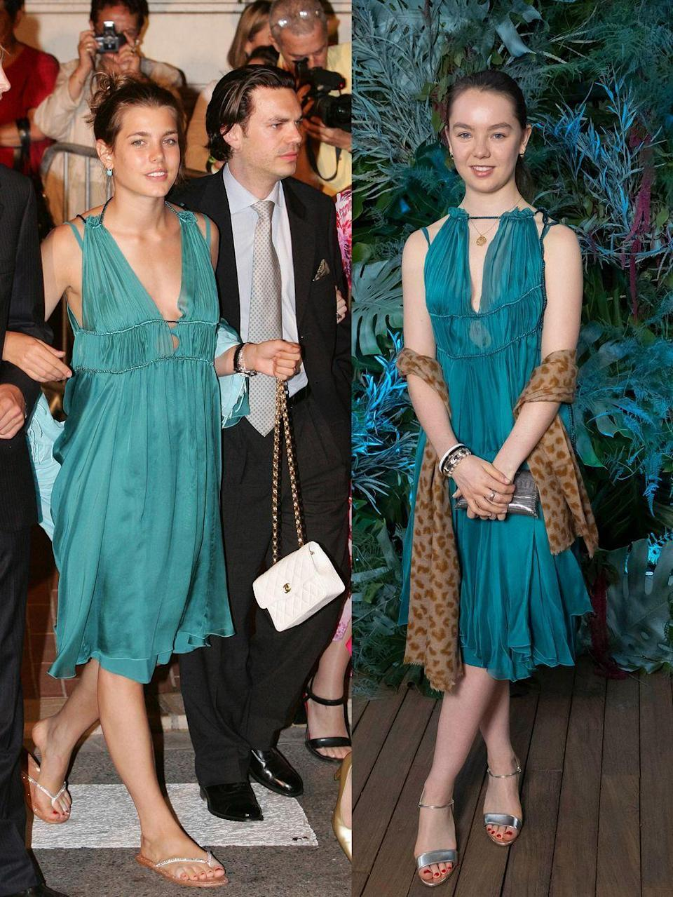 <p>Even royals get their sister's hand-me-downs. On May 2, 2019, Alexandra, right, wore the blue-green dress that her older sister wore fourteen years prior. Charlotte wore the dress on July 12, 2005 for her uncle, Albert II's, coronation. Alexandra then dug the dress out of the archives for an Alberta Ferretti fashion show in Monte Carlo. </p>