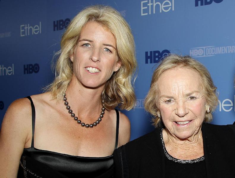 """This Oct. 15, 2012 photo released by Starpix shows filmmaker Rory Kennedy, left, and Ethel Kennedy at the premiere for the documentary, """"Ethel: A First-Hand Look Inside The Kennedy Family,"""" in New York. The film, about Ethel Kennedy, wife of the late Robert F. Kennedy, debuts on Oct. 18 at 9 p.m. EST on HBO. (AP Photo/Starpix, Marion Curtis)"""