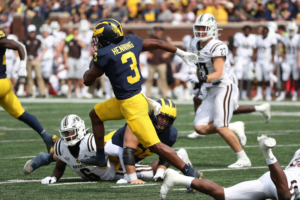 Michigan Wolverines wide receiver A.J. Henning (3) runs for a touchdown during second half action against the Western Michigan Broncos Saturday, Sept. 4, 2021.