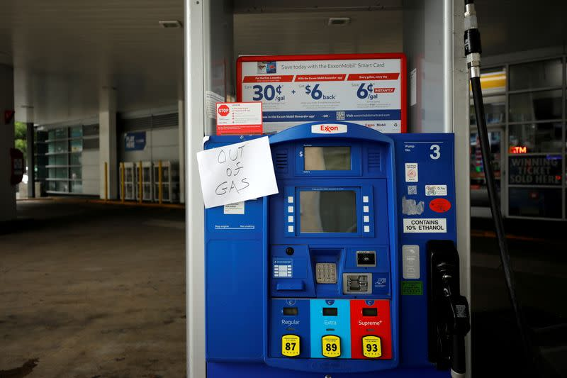 FILE PHOTO: A gas station is seen out of gas in Washington