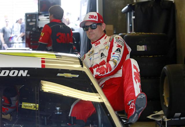 "Sprint Cup Series driver <a class=""link rapid-noclick-resp"" href=""/nascar/sprint/drivers/3/"" data-ylk=""slk:Jeff Gordon"">Jeff Gordon</a> (24) climbs into his car during practice for the NASCAR Brickyard 400 auto race at Indianapolis Motor Speedway in Indianapolis, Friday, July 24, 2015. (AP Photo/R Brent Smith)"