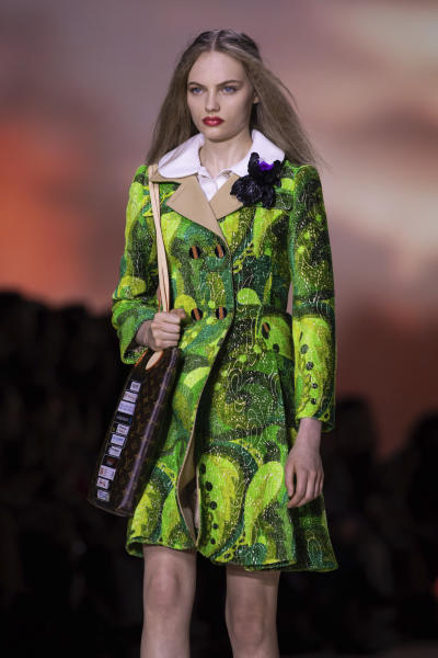 A model wears a creation as part of the Vuitton Ready To Wear Spring-Summer 2020 collection, unveiled during the fashion week, in Paris, Tuesday, Oct. 1, 2019. (Photo by Vianney Le Caer/Invision/AP)