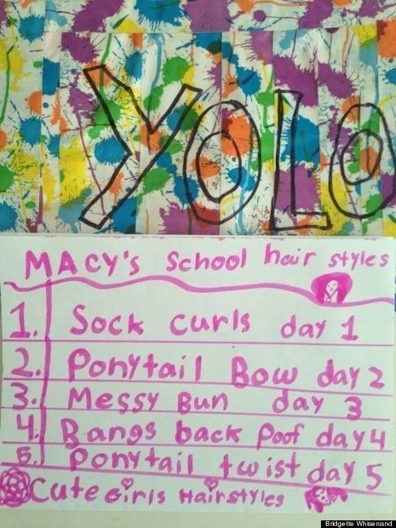 "Author: Macy Age: 9 <a href=""http://www.huffingtonpost.com/2013/09/20/cute-kid-note-of-the-day-macys-school-hair-styles_n_3954023.html?1379700891"" rel=""nofollow noopener"" target=""_blank"" data-ylk=""slk:Click Here To Read The Full Note"" class=""link rapid-noclick-resp"">Click Here To Read The Full Note</a>"