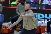 Golden State Warriors head coach Steve Kerr gestures during the second half of his team's NBA basketball game against the Milwaukee Bucks in San Francisco, Tuesday, April 6, 2021. (AP Photo/Jeff Chiu)