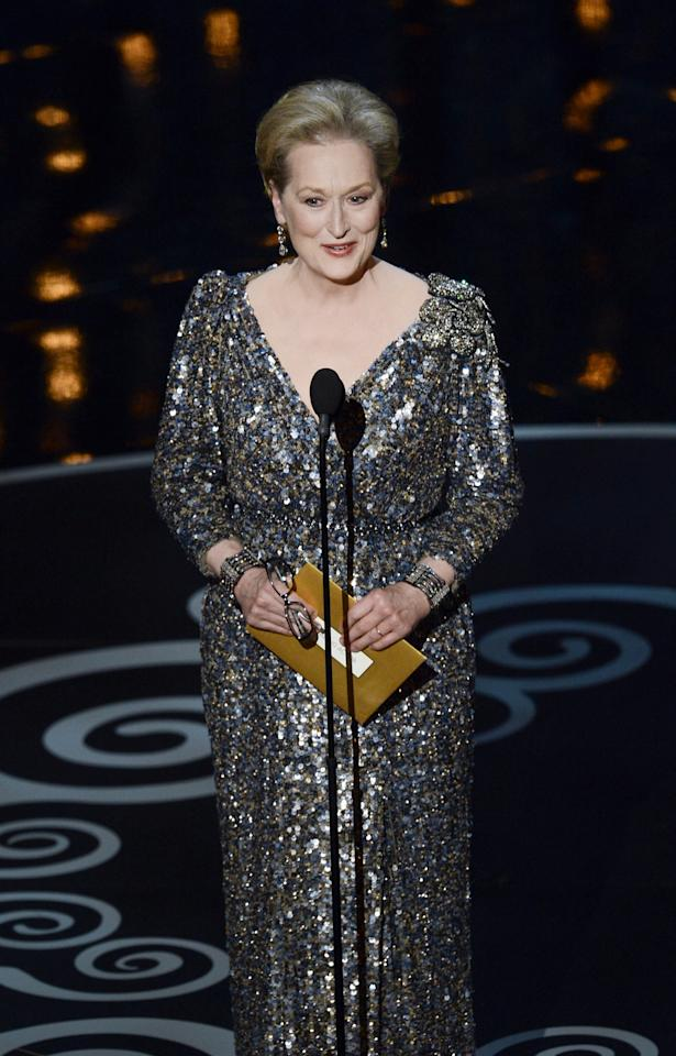 HOLLYWOOD, CA - FEBRUARY 24:  Actress Meryl Streep presents the Best Actor award onstage during the Oscars held at the Dolby Theatre on February 24, 2013 in Hollywood, California.  (Photo by Kevin Winter/Getty Images)