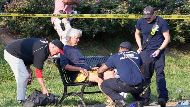 PHOTO: Rep. Roger Williams receives medical attention from first responders on the scene following a shooting in Alexandria, Va., June 14, 2017. (Michael Reynolds/EPA)