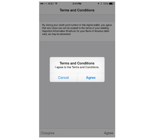 Terms and Conditions screen for Apple Pay