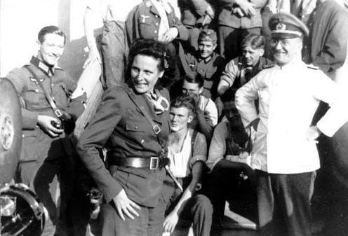 "<span class=""caption"">Leni Riefenstahl as war correspondent in Poland 1939, wearing a Wehrmacht uniform.</span> <span class=""attribution""><a class=""link rapid-noclick-resp"" href=""https://commons.wikimedia.org/wiki/File:Bundesarchiv_Bild_146-2004-0022,_Polen,_Truppenbesuch_von_Leni_Riefenstahl.jpg"" rel=""nofollow noopener"" target=""_blank"" data-ylk=""slk:German Federal Archives"">German Federal Archives</a></span>"