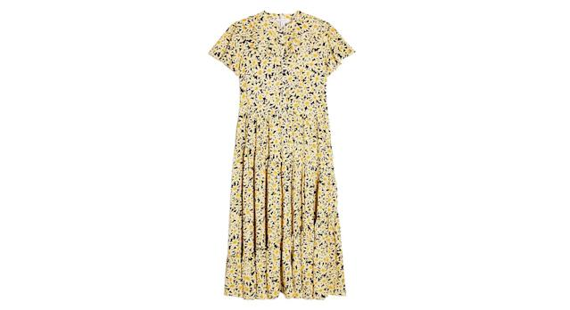 Yellow Daisy Grandad Midi Shirt Dress