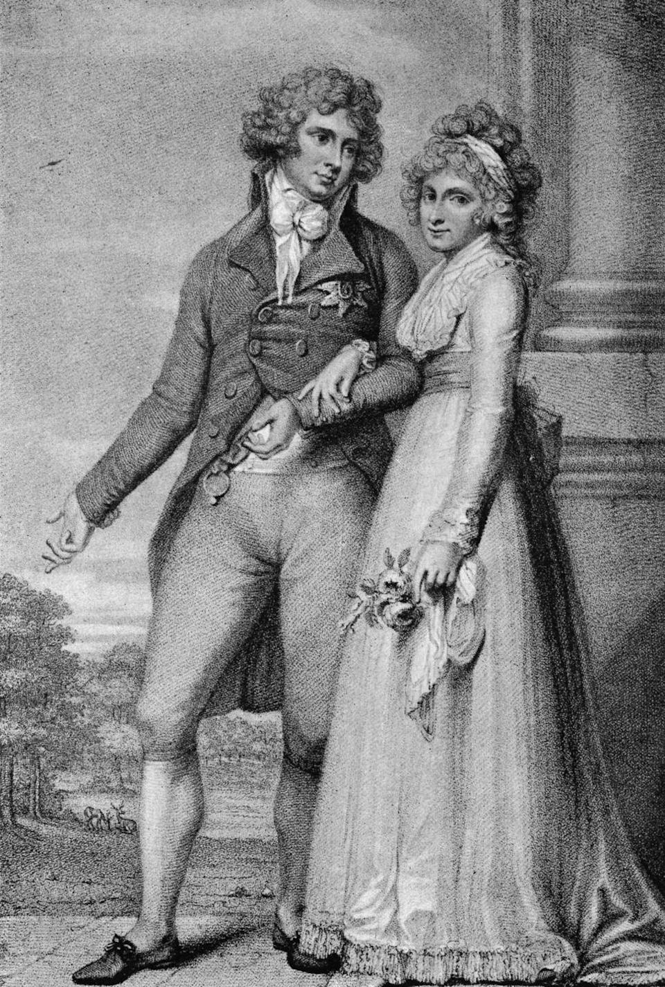 """<p>George IV appears to have had quite the scandalous life. According to the <a href=""""http://news.bbc.co.uk/1/hi/programmes/monarchy/2015428.stm"""" rel=""""nofollow noopener"""" target=""""_blank"""" data-ylk=""""slk:BBC"""" class=""""link rapid-noclick-resp"""">BBC</a>, the royal """"secretly and illegally married a Catholic who he had to abandon for an approved match with his cousin Caroline of Brunswick."""" The cousins did not hit it off, and upon seeing his new bride, George IV reportedly said, """"I am not well; pray get me a glass of brandy."""" <a href=""""https://life.spectator.co.uk/articles/a-curious-history-of-royal-weddings/"""" rel=""""nofollow noopener"""" target=""""_blank"""" data-ylk=""""slk:Spectator Life"""" class=""""link rapid-noclick-resp""""><em>Spectator Life</em></a> reported that Caroline gave as good as she got and called her new husband, """"nothing like as handsome as his portrait.""""</p>"""