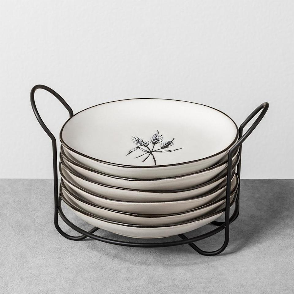 "<p>Appetizer plates are often overlooked, and there's never enough of them. This minimalist set is the perfect addition for any kitchen and will be much appreciated by the busy host or hostess. <br><strong><a href=""https://fave.co/2AqZROf"" rel=""nofollow noopener"" target=""_blank"" data-ylk=""slk:SHOP IT"" class=""link rapid-noclick-resp"">SHOP IT</a>:</strong> $30 (on sale, $21),<a href=""https://fave.co/2AqZROf"" rel=""nofollow noopener"" target=""_blank"" data-ylk=""slk:target.com"" class=""link rapid-noclick-resp""> target.com</a> </p>"