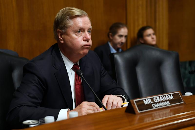Chairman Sen. Lindsey Graham, R-S.C., is shown during testimony by Attorney General William Barr at a Senate Judiciary Committee hearing on Capitol Hill in Washington, Wednesday, May 1, 2019, on the Mueller Report. (AP Photo/Susan Walsh)