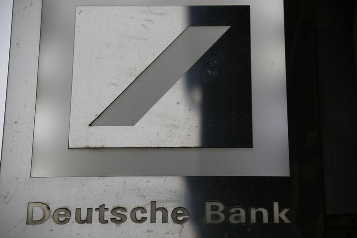 The logo of Deutsche Bank is pictured outside the bank's branch in Wiesbaden