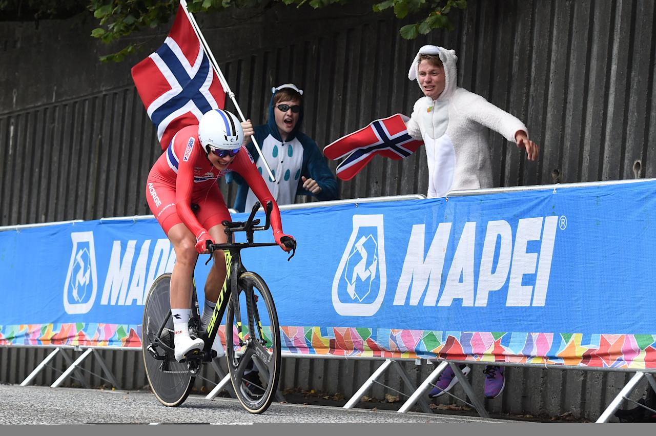 Cycling - UCI Road World Championships - Women Individual Time Trial - Bergen, Norway - September 19, 2017 - Vita Heine from Norway competes. NTB Scanpix/Marit Hommedal via REUTERS ATTENTION EDITORS - THIS IMAGE WAS PROVIDED BY A THIRD PARTY. NORWAY OUT. NO COMMERCIAL OR EDITORIAL SALES IN NORWAY.