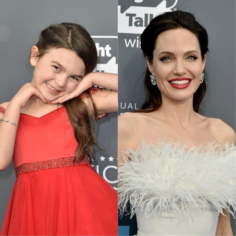"""Angelina Jolie and the young """"Florida Project"""" actress shared a sweet BTS moment at the Critics' Choice Awards"""